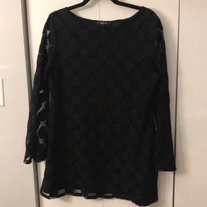 Black long sleeve tunic shirt